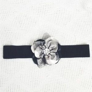 Rhinestone Silver Flower Stretch Belt
